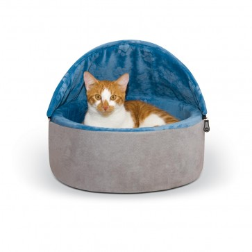 Self-Warming Kitty Bed Hooded blue/gray