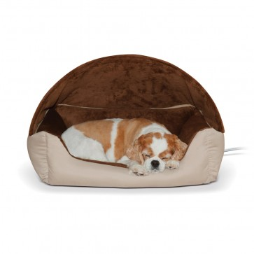 Thermo-Hooded Lounger Bed tan/chocolate