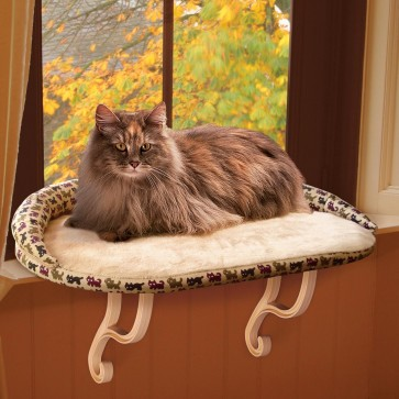 K&H Kitty Sill Deluxe with Bolster kitty print