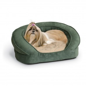K&H Ortho Bolster Sleeper green paw print