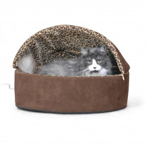K&H Thermo-Kitty Bed Deluxe Hooded mocha