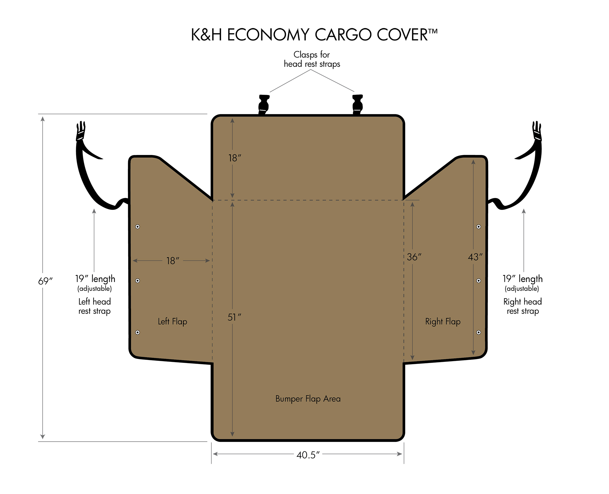 K&H Cargo Cover dimensions