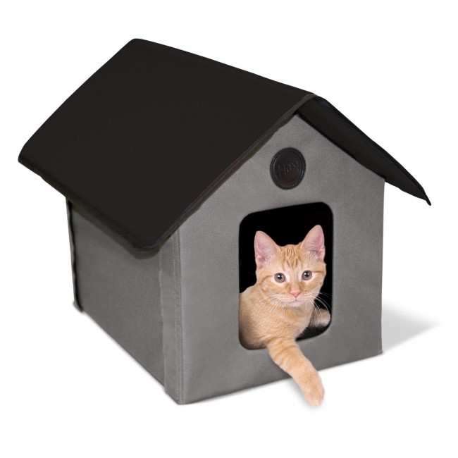 K H Outdoor Kitty House Gray