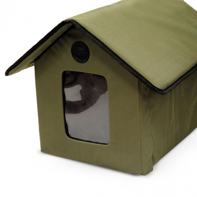 K H Outdoor Kitty House With Door Flap Installed